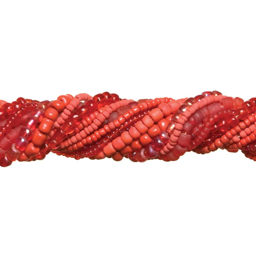 Jewelry Basics Strung Glass Seed Beads  -  Red Mix 3.18 oz