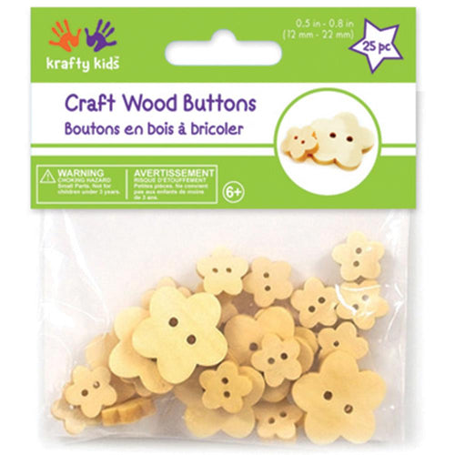 Krafty Kids Craft Wood Flower Buttons .5-.8in 25/pkg