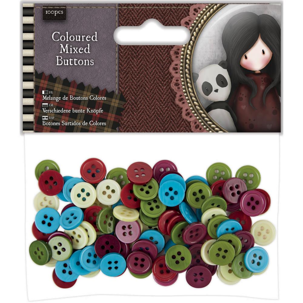 Santoro Coloured Mixed Buttons 100/pkg