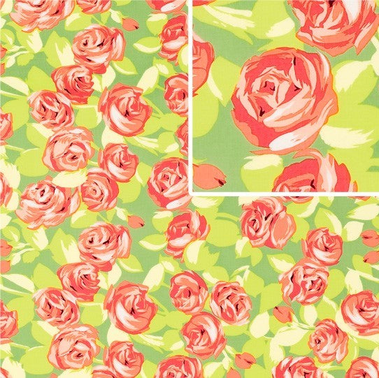 Tumble Roses Tangerine by Amy Butler