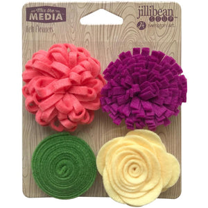 jillibean Soup Felt Flowers Set of Four - MORE COLOR OPTIONS