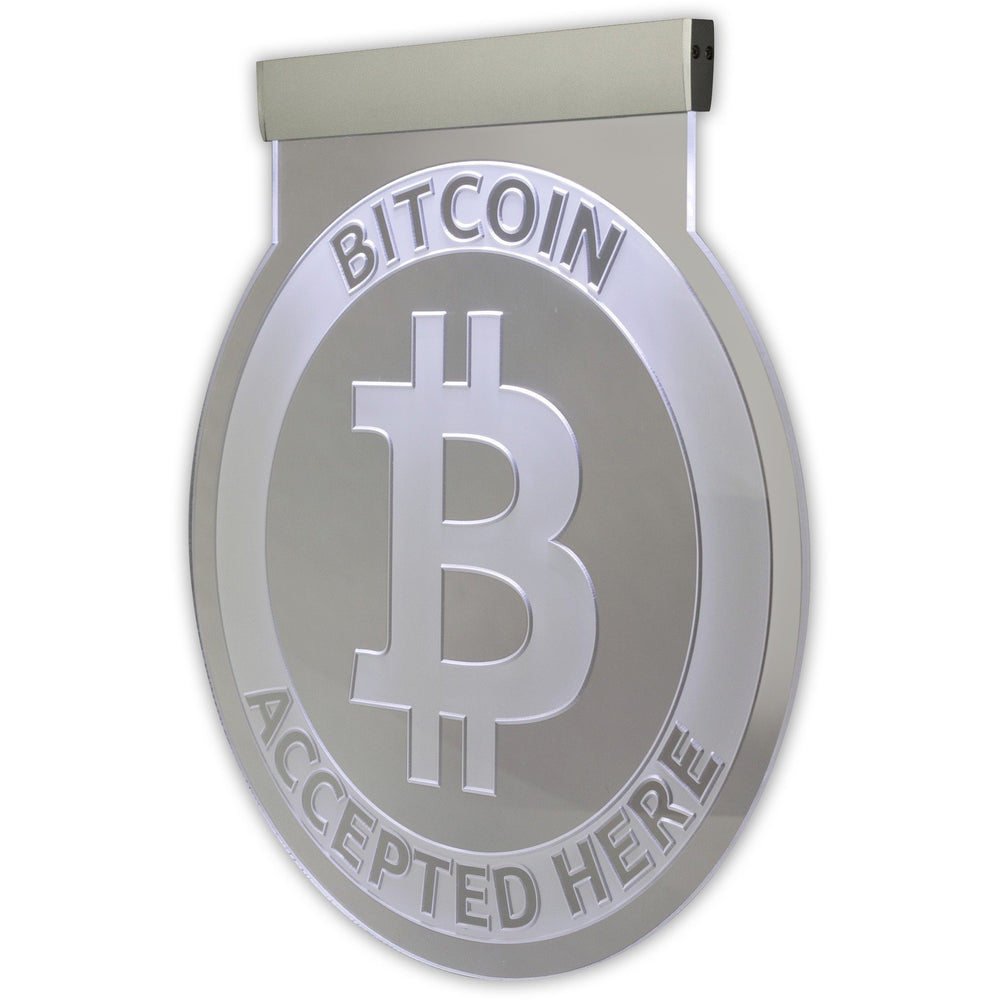 Illuminated Hanging Bitcoin Sign