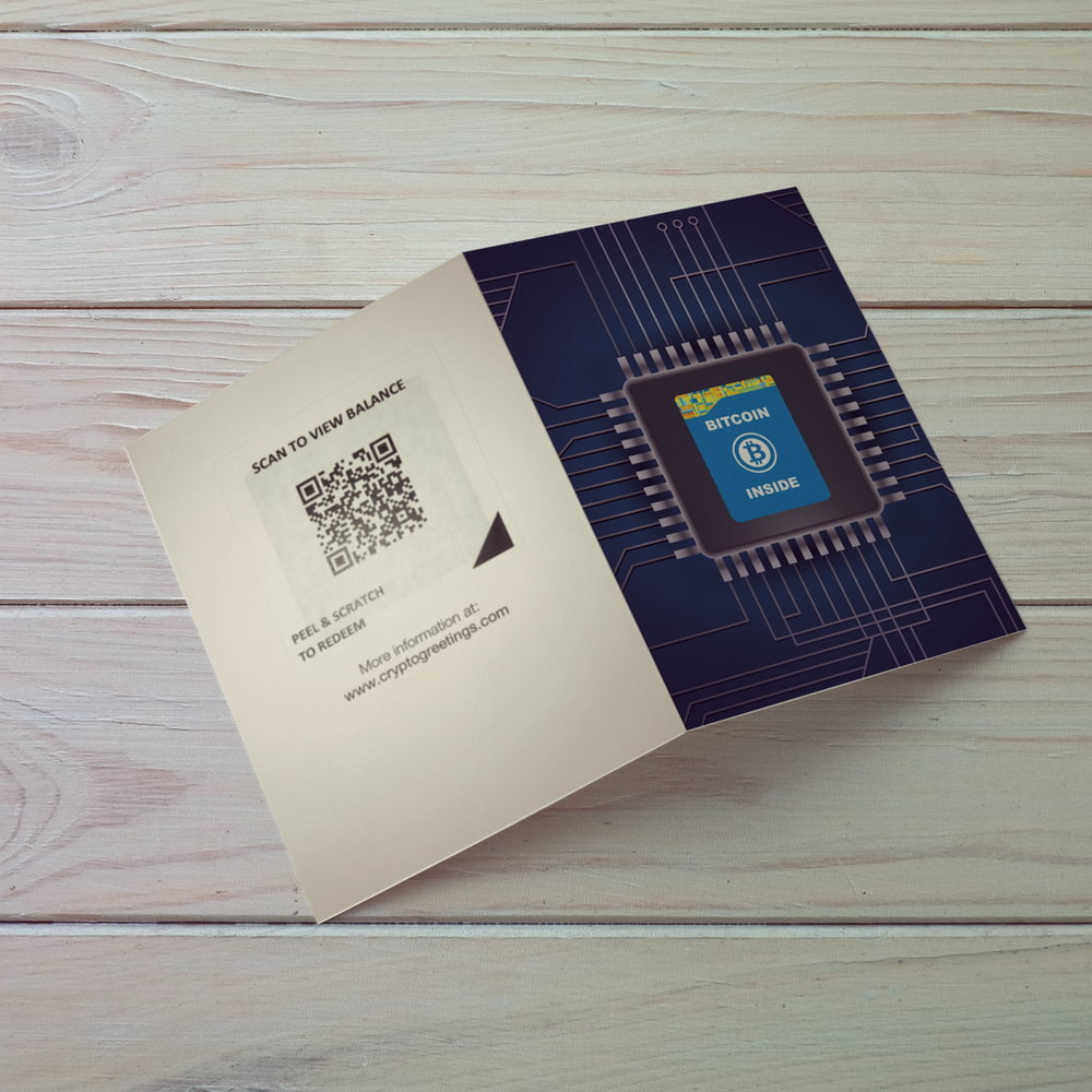 Bitcoin Inside Chip Greeting Card