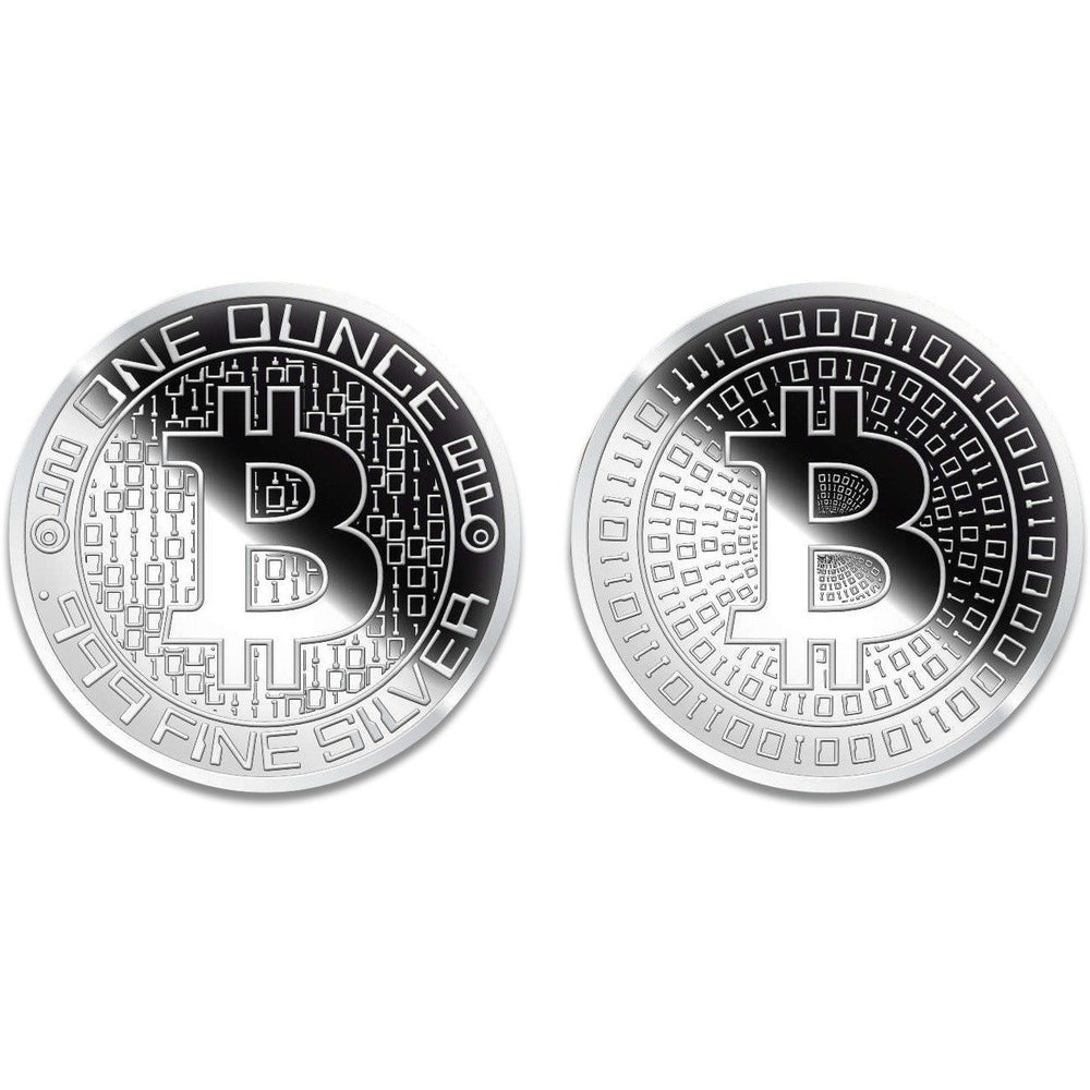1 ozt Silver Bitcoin Round - Mirror Finish