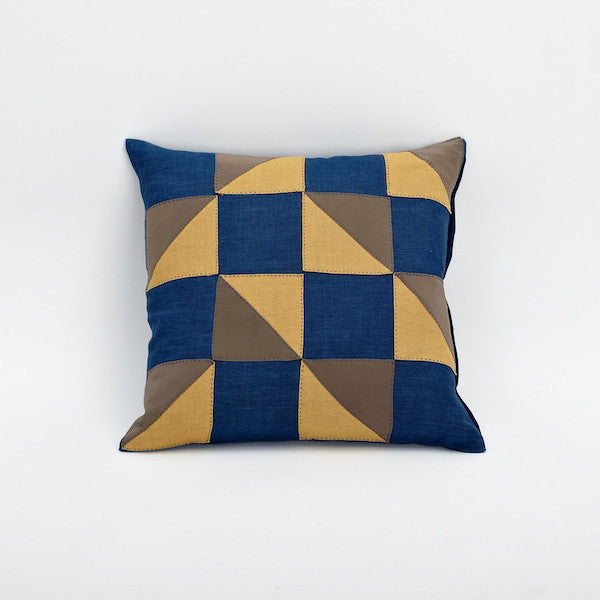 "20"" Indigo Dye Patchwork Pillow Cover, Picnic"