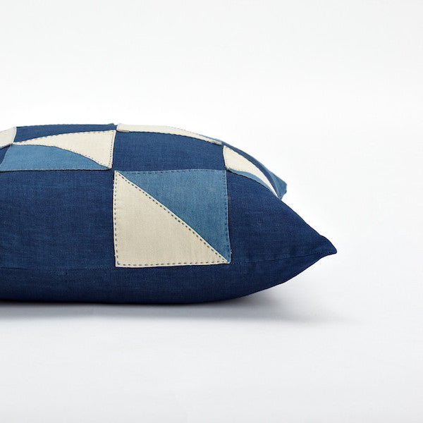 "20"" Indigo Dye Patchwork Pillow Cover, Confession"