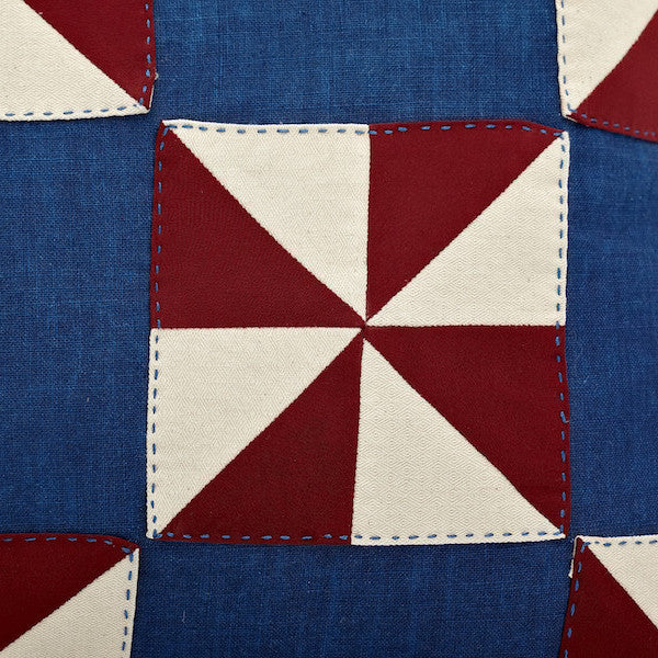 "20"" Indigo Dye Patchwork Pillow Cover, Windmill Special Edition"
