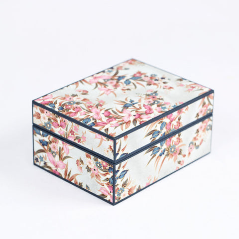 Japanese Washi Paper Jewelry Box, Orchid Garden