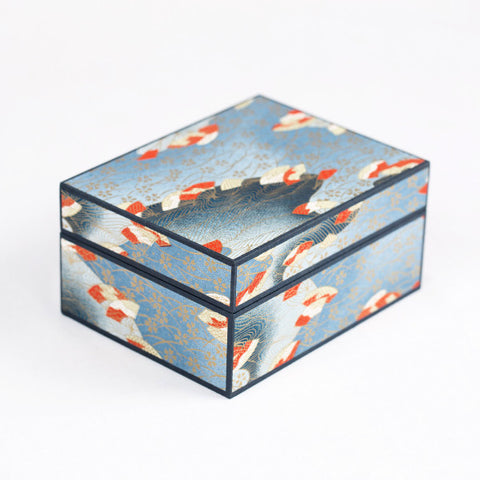 Japanese Washi Paper Jewelry Box, Red Fan