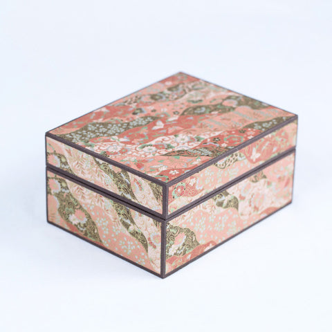 Japanese Washi Paper Jewelry Box, Gold Ribbon