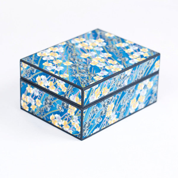 Japanese Washi Paper Jewelry Box, Yellow/Blue Floral