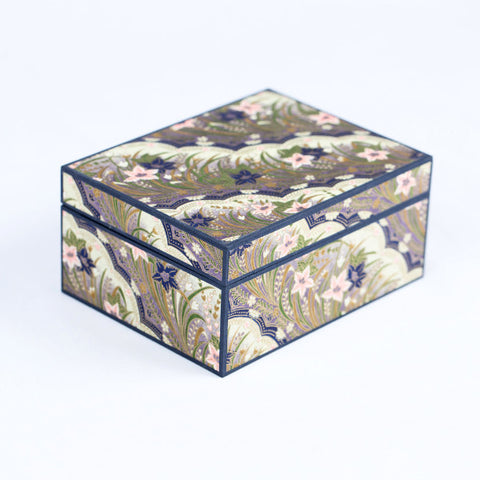 Japanese Washi Paper Jewelry Box, Pink/Purple Floral