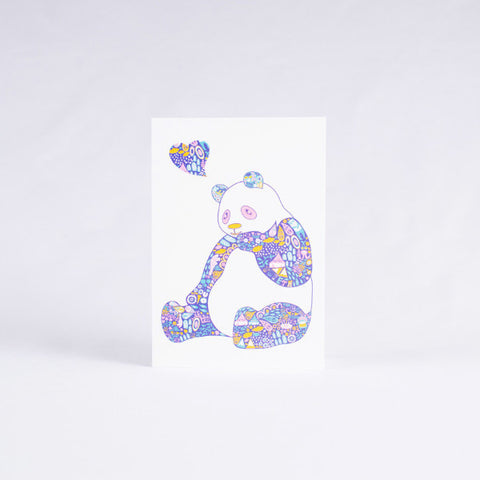 Pandorable Card, Colorful Print Panda Card