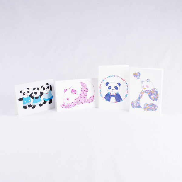 Pandorable Card, Purple Flower Print Panda Card