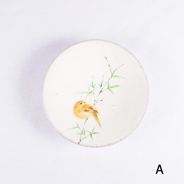 Hand-Painted Artisanal Chinese Plate, Bamboo with Bird