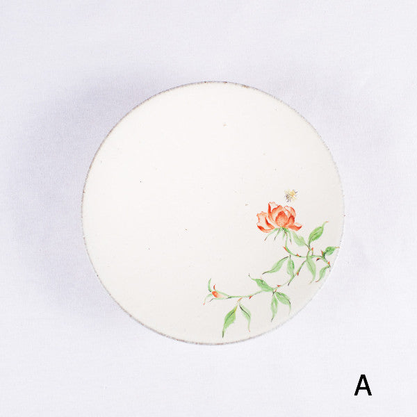 Hand-Painted Artisanal Chinese Plate, Red China Rose with Bee