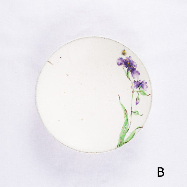 Hand-Painted Artisanal Chinese Plate, Purple Iris