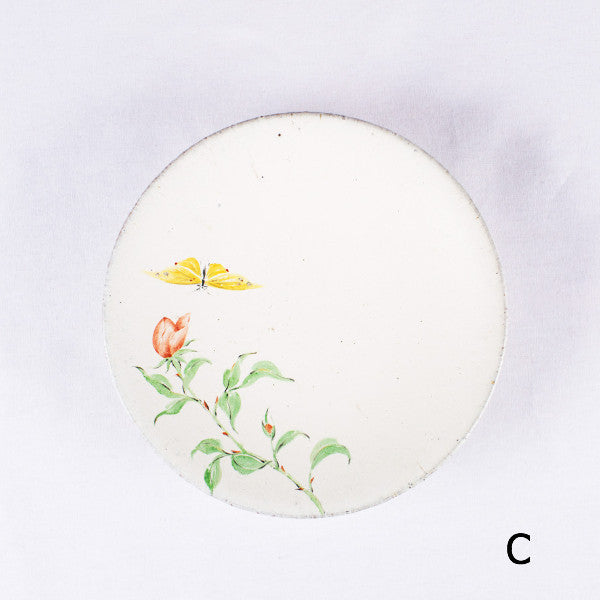 Hand-Painted Artisanal Chinese Plate, Red China Rose with Butterfly