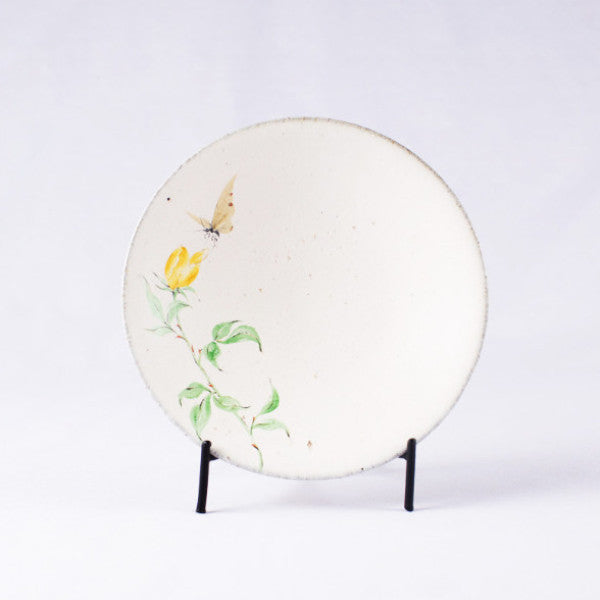 Hand-Painted Artisanal Chinese Plate, Yellow China Rose with Butterfly