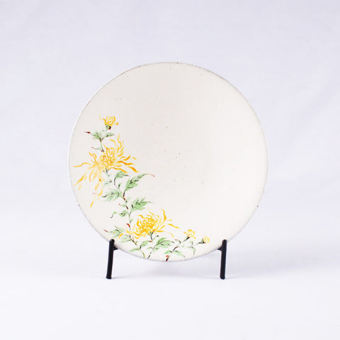 Hand-Painted Artisanal Chinese Plate, Chrysanthemum