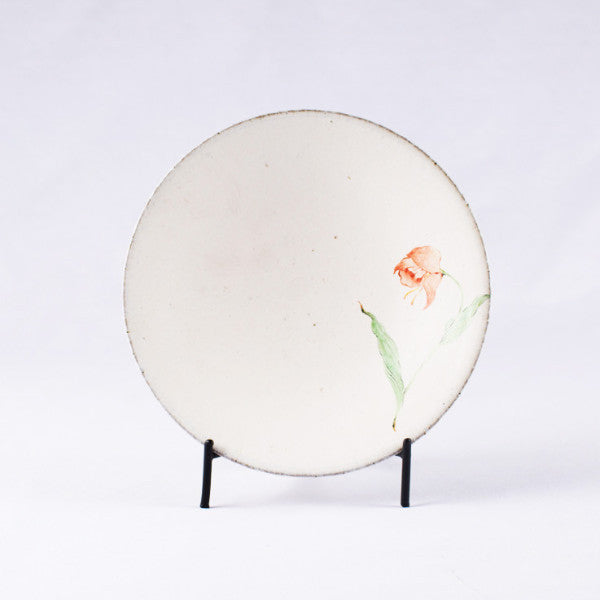 Hand-Painted Artisanal Chinese Plate, Red Tulip