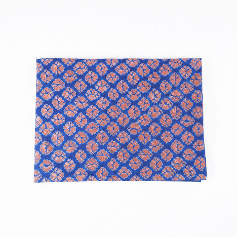 Indigo Tie Dye Throw, Flowers I