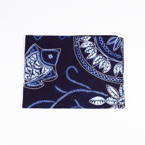 Indigo Tie Dye Throw, Fish and Flowers