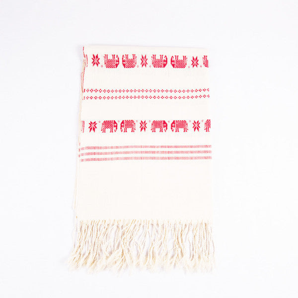 Red Dai Handwoven Table Runner, Elephants