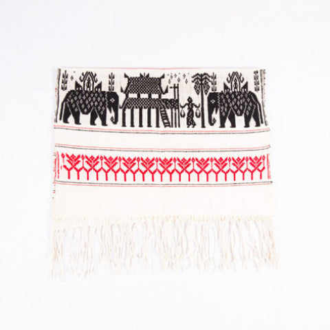 Dai Handloom Table Runner, Elephants and Peacocks III