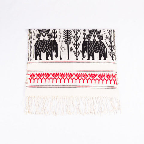 Dai Handloom Table Runner, Elephants and Peacocks I