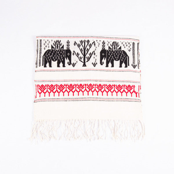 Dai Handloom Table Runner, Elephants and Peacocks II