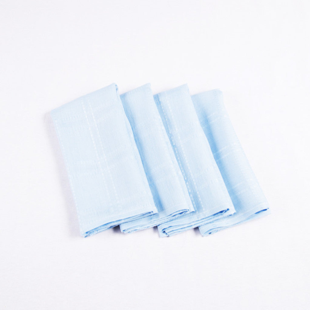 Square Linen Napkins, Blueberry, Set of 4