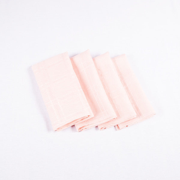 Square Linen Napkins, Peach, Set of 4