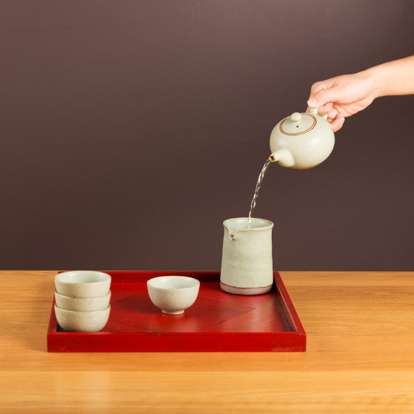 Pottery Tea Set, Milky Green II