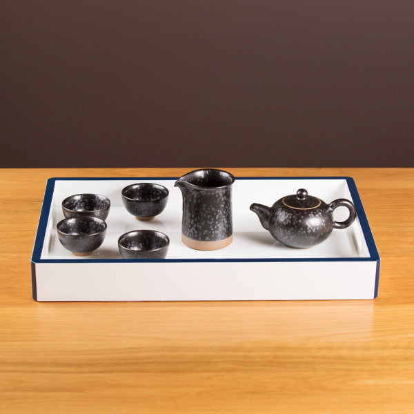 Pottery Tea Set, Glazed Black