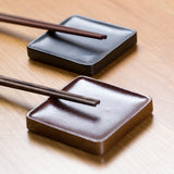 Ceramic Chopstick & Spoon Rests, Charcoal, Set of 5