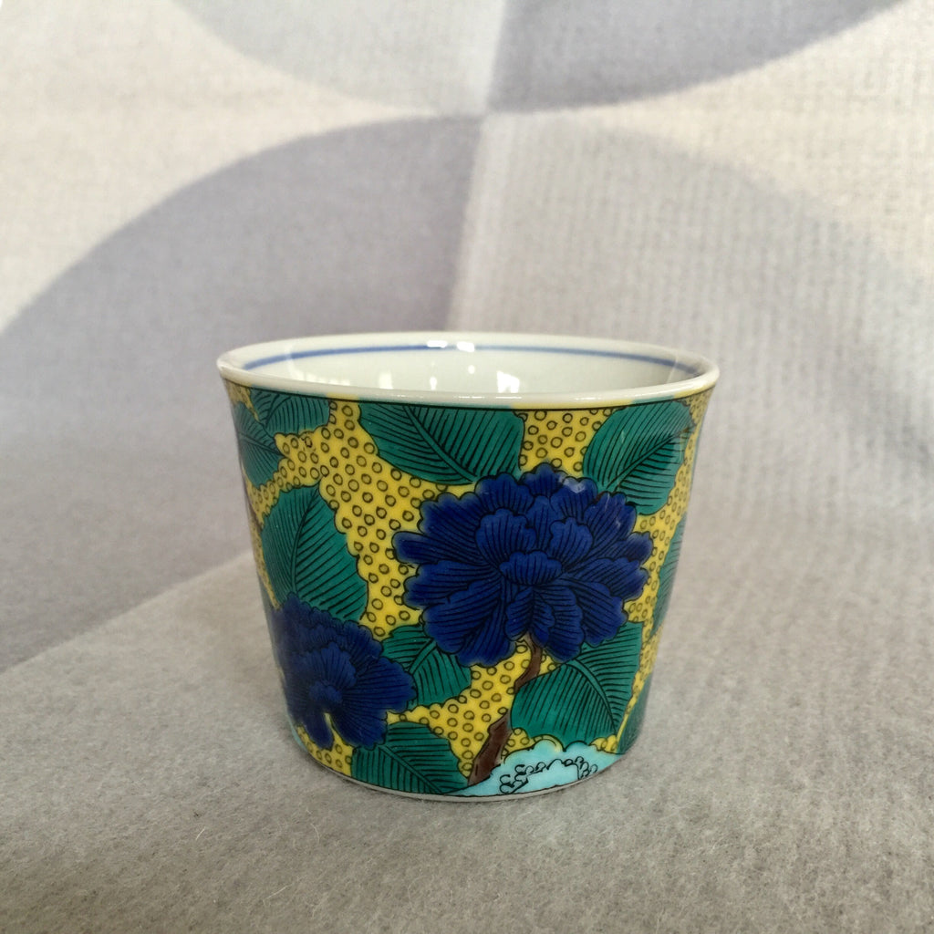 Japanese Kutani Tea Cup, Mountain Peony