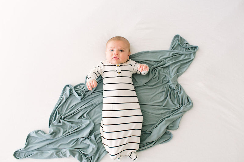 Graystone Stripe | BABY - Dwell and Slumber house dress gold snaps