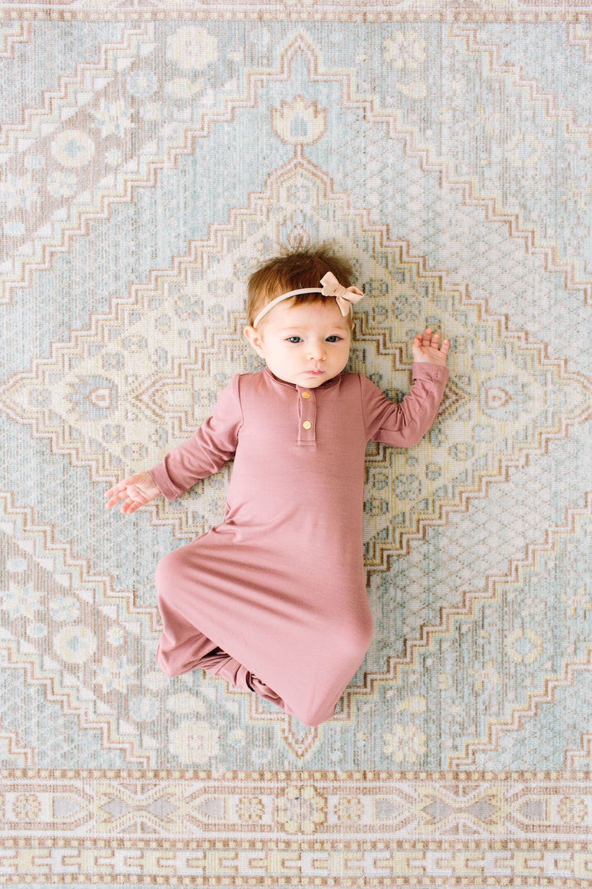 Mauve | BABY - Dwell and Slumber house dress gold snaps