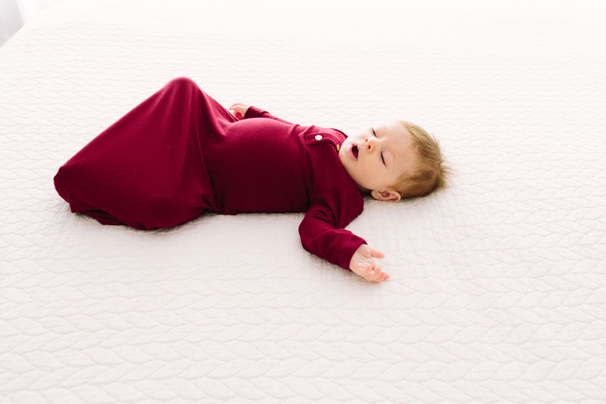 Wine | BABY - Dwell and Slumber house dress gold snaps
