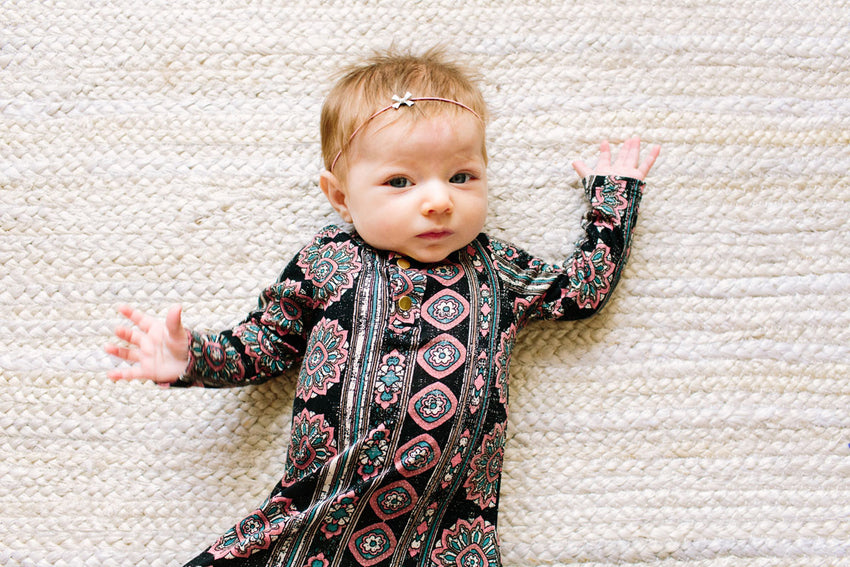 Spring Rose | BABY - Dwell and Slumber house dress gold snaps