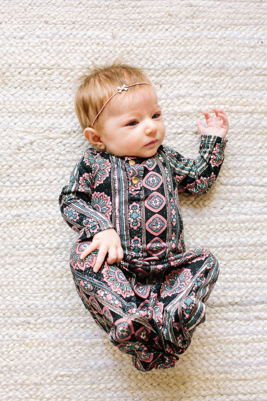 Joplin | BABY - Dwell and Slumber house dress gold snaps