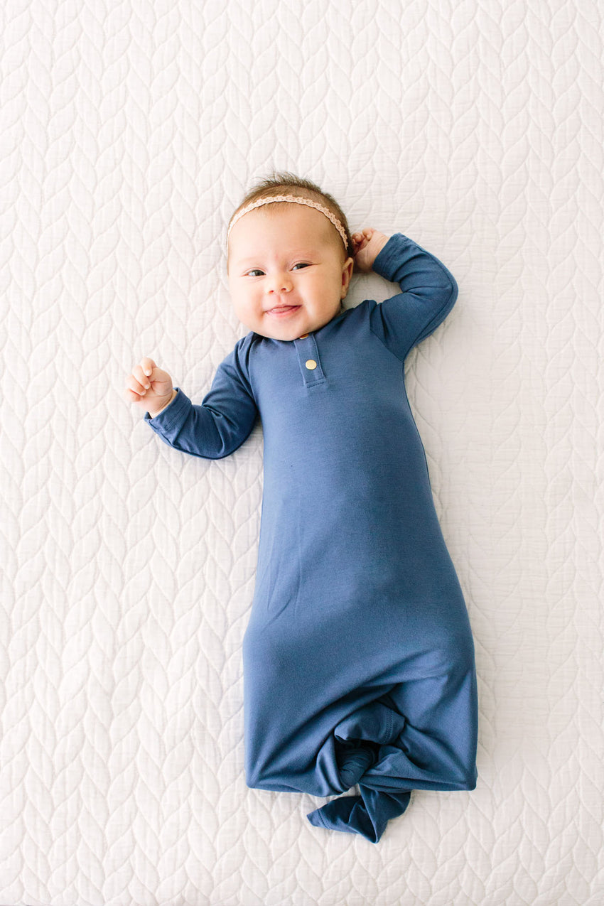 Dutch Blue | BABY - Dwell and Slumber house dress gold snaps