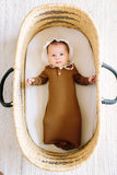 Camel | BABY - Dwell and Slumber house dress gold snaps