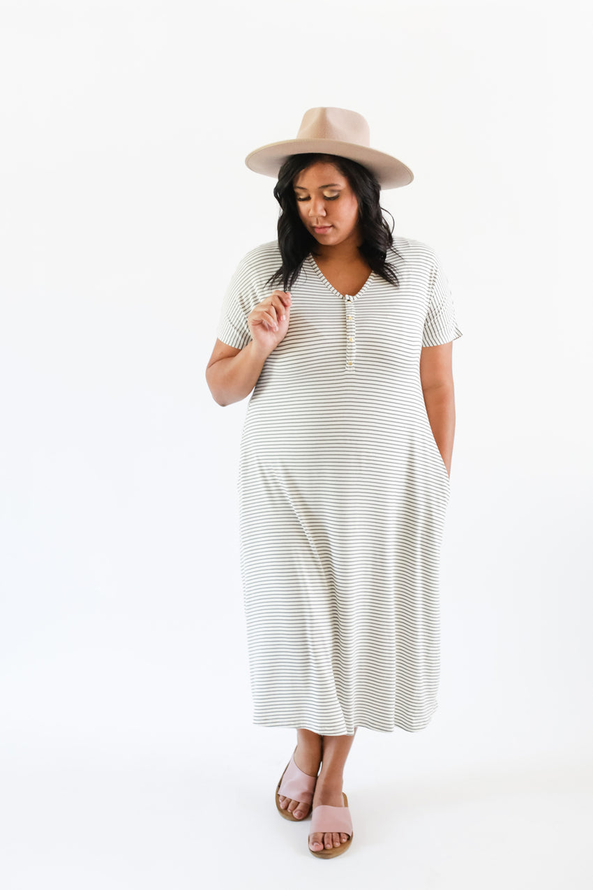 Olive Stripe | SWING - Dwell and Slumber house dress gold snaps