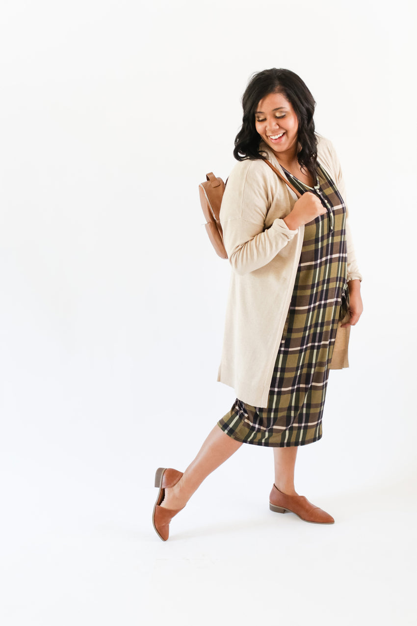 Olive Plaid | COCOON - Dwell and Slumber house dress gold snaps
