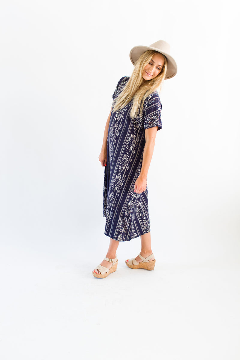 River | SWING - Dwell and Slumber house dress gold snaps