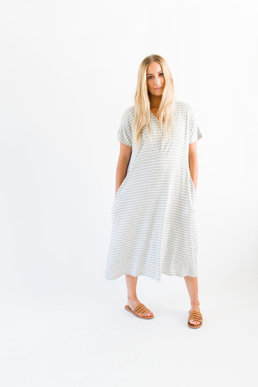 Harper Stripe | SWING - Dwell and Slumber house dress gold snaps