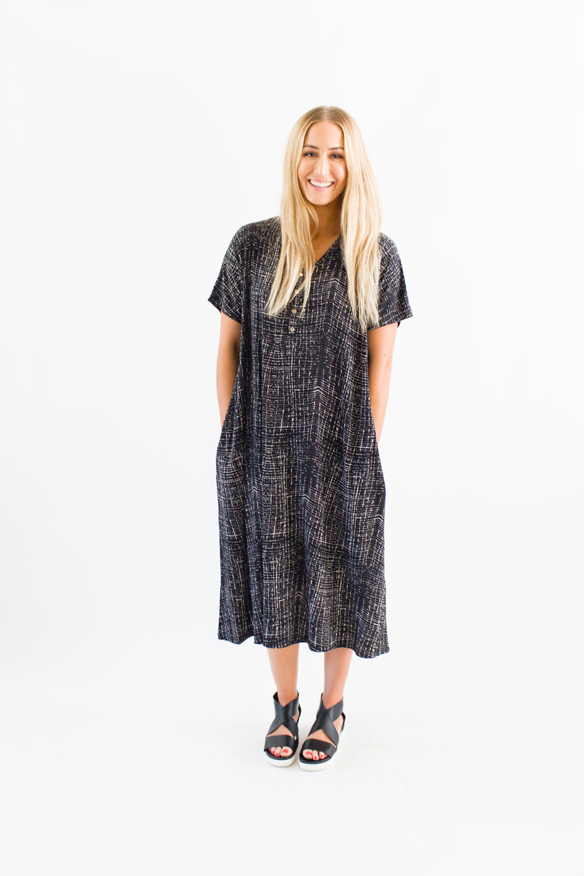 Frankie | SWING - Dwell and Slumber house dress gold snaps