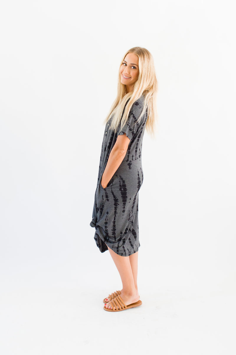 Charcoal Tie Dye | SWING - Dwell and Slumber house dress gold snaps